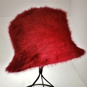 "Nordstrom ""Passy"" Red Angora Bucket Hat"